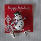 Ice Skating -Snowman-Brooch/pin in Naperville, Illinois