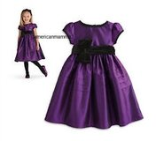 American girl pretty in purple dress in Westmont, Illinois
