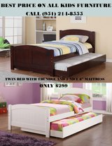 NEW ALL WOOD TRUNDLE BED WITH 2 MATTRESS in San Bernardino, California