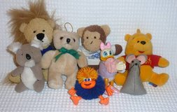 Animals Play Soft Cuddly Dolls, clip on, Pooh bear Duck, Monkey, Mouse, 8 total in Olympia, Washington