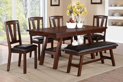 6 PC DINING SET TABLE 4 CHAIRS BENCH BRAND NEW in Hinesville, Georgia