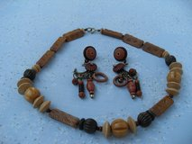 Necklace/Earring Set Wood Vintage 70s Brown Tones in Houston, Texas