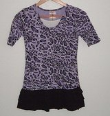 Knit Works Purple Leopard Ruffle Tier Shirt Dress In Girls Size Large 10 in Morris, Illinois