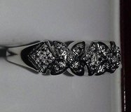 diamond accent, platinum over sterling silver band in Joliet, Illinois