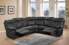 Victory Leather Recliner Sectional in Black & Dark Grey - monthly payments possible in Aviano, IT